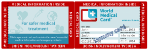World Medical Card, inside card